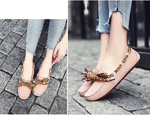 Paresseux Couleur Chaussures Marron Femme Chaussures 36 Femmes A Simple Chaussures Plat Shallow Rose HWF Pois Casual taille de printemps Pédale Chaussures femme Mouth 7xq7PTwUH