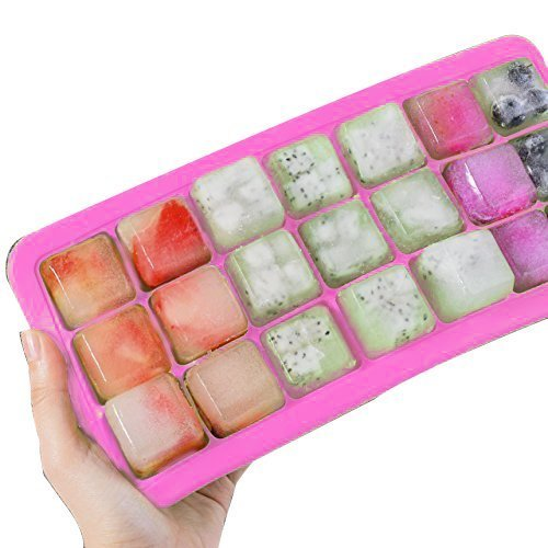 Newcomdigi Ice Cube Tray Silicone with Lid Green Soft with Cover (Pink)