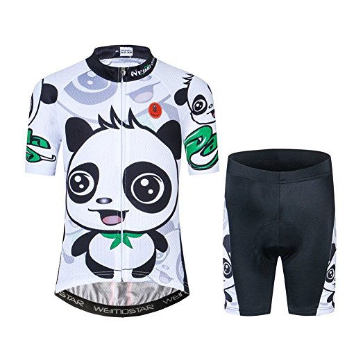 Cycling Jersey Kids,Short Sleeve Cartoon Road Mountain Bike Jersey Set/Top/Short for Girls Boys Breathable (Panda, -