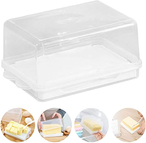 16.510.47.5cm Butter Dish with Lid Plastic Clear Cheese Keeper Tray High Capacity Butter Container for Large Flutter Butter