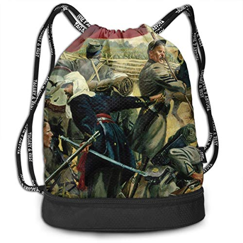 Zol1Q Multipurpose Drawstring Bag for Men & Women - Oil Paint American Civil War Cinch Backpack Tote Sack Large Storage Sackpack for Gym Travel Hiking