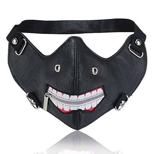 Longbell Leather Mask Motorcycle Biker Cosplay River Half Face Sports Protective Punk Mask (Black-Mouth Zipper White)