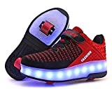 laideqi USB Charging LED Roller Skate Shoes Light Up Glowing Flashing Sneakers for Kids(Red 2 Wheels 28 M EU/11.5 M US Little Kid)