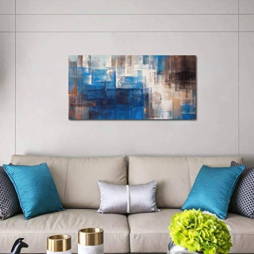 Large Dark Blue Abstract Wall Art Decor for Living Room Canvas Prints Picture Artwork Office Home Bedroom Wall Decoration 24×48