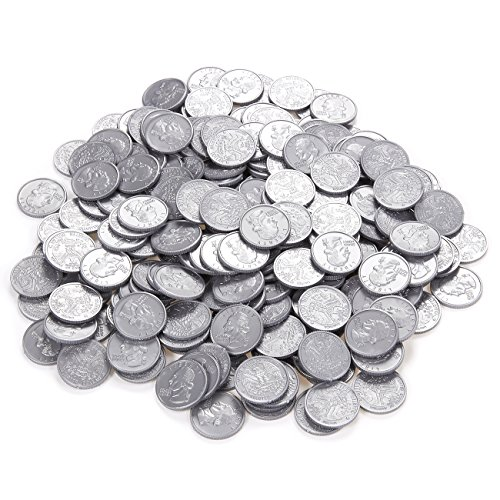 Child Silver Coin (Pack of 200 Play Coins - Fake Plastic Quarter Coins - Pretend Money - Great Teaching Tool, Prop, Kids Toy, 0.98 Inches in Diameter)