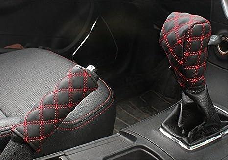 Pu Leder Bezug Für Handbremse Und Schalthebel Set Von Twinkling Stars Schwarz Und Rot Mikrofaser Schutzhülle Auto