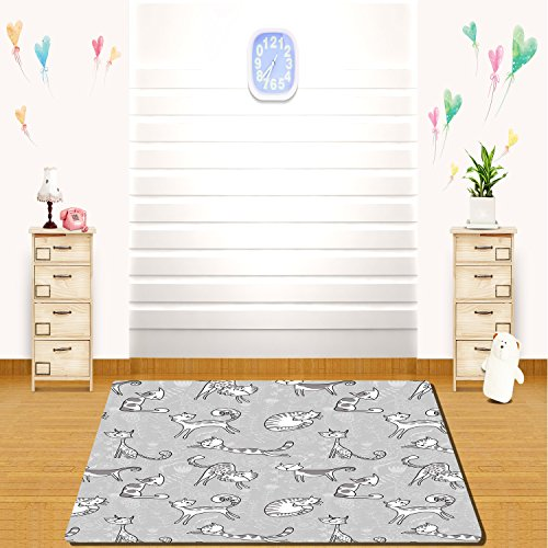 HAIXIA rugs Grey Decor Cute Cat Figures Posing over Floral Background Feline Kitten Kitty Cartoon Art Prints White