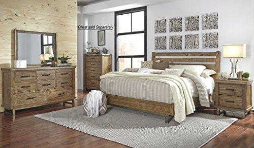 Dondia Warm Brown Solid Wood Bedroom Set with Queen Bed, Dresser, Mirror, Nightstand (Mirror And Wood Nightstand)