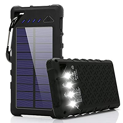 FKANT Solar Charger, 16000mah IPX7 Waterproof Portable Solar Power Bank Dual USB Port and 4LED External Backup Battery Pack Solar Phone Charger for iPhone, iPad, Samsung Android Devices