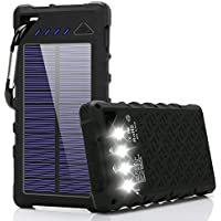 Solar Charger, FKANT 16000mAh Solar Phone Charger IPX7 Waterproof Portable Solar Power Bank External Battery Pack Dual USB for iPhone and Other Smart Devices- with 4LED Flashlight and Carabiner