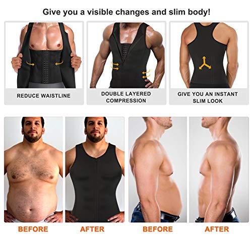 Tummy Trimmer Body Shaper Tight Tank Top Under Shirt Chest Pull Girdle Vest Men Moobs Binder (L, Black)