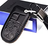 Calfskin Genuine leather jeep grand cherokee renegade key fob cover case holder dodge durango Dart Charger Journey ram 1500 challenger avenger chrysler 200 300 key fob cover case holder black color