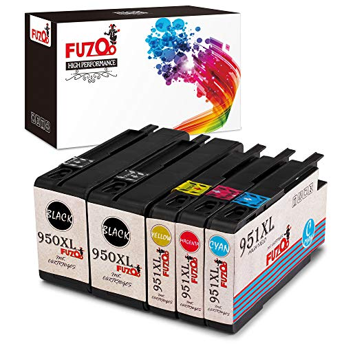 FUZOO 950XL 951XL Compatible Ink Cartridges Replacement for HP 950 951 Work with Officejet Pro 8600 8610 8620 8630 8640 8660 8100 8615 8625 276DW 251DW 271DW Printer - High Yield (2BK 1C 1M 1Y - 5 pk)