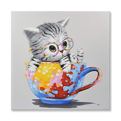- SEVEN WALL ARTS -Modern Hand-Painted Oil Painting Animal Cute Pet Cat Colorful Cup Kitty Artwork with Stretched Frame for Home Decor 32 x 32 Inch