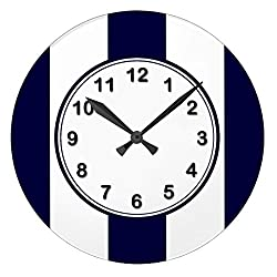Navy Blue And White Extra Large Stripe Pattern Antique Wall Clock Decor For Living Room Nursety Wood Wall Clock Art For Kids Kitchen Bedroom Decorative 12 Inch