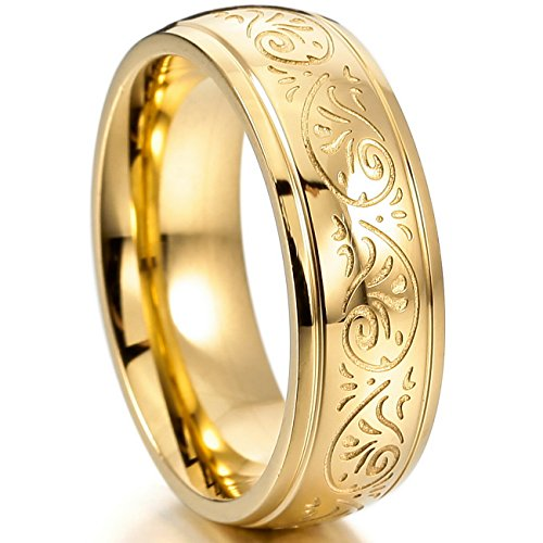 MOWOM Gold Tone 7mm Stainless Steel Ring Band Engraved Florentine Design Size 9