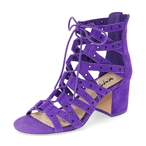 XYD Stylish Strappy Gladiator Sandals Open Toe Lace Up Ankle High Booties Low Heels For Women Size 12 Purple (Purple Sandals Suede)