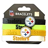 NFL Pittsburgh Steelers Silicone Rubber Wrist Band Bracelet (Set of 4), One Size, Multicolor