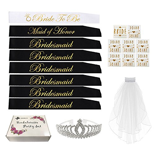 BACHELORETTE PARTY SASH SET:Bride to be sash,1 Maid of honor sash,6 Bridesmaids sash,Bride Tribe Sash,Team bride Sash,Tiara,Veil/,8 Bride/Bride Tribe tattoos, for Bridesmaids, Bridal shower favors.
