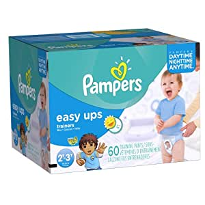 Pampers Easy Ups Boys Size 2T/3T Big Pack, 60 Count (Packaging May Vary)