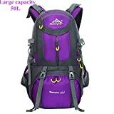 Backpack,50L Outdoor Recreation Backpack ,Large Capacity Durable Travel Lightweight Water Resistant Hiking Daypack Rucksack (purple)