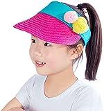 Ababalaya Wide Brim Straw UPF 50+ Beach Travel Bow Sun Hats Visor For Kids Girls 3-8T,Rose Pompom