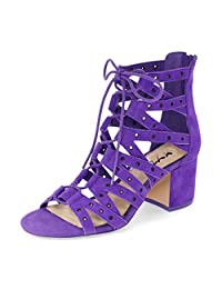 XYD Women Sexy Low Heels Lace-Up Shoes Black Gladiator Cutout Sandals