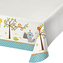 """Creative Converting 725670 All Over Print Plastic Tablecover, 54 x 102"""", Happy Woodland, Boy"""