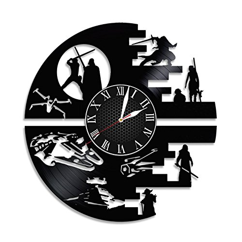 DARTH VADER STAR WARS Handmade Vinyl Record Wall Clock - Get unique home room wall decor - Gift ideas for parents, teens - Epic Movie Unique Modern Art