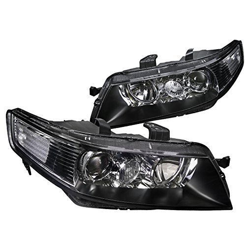 Jdm Projector Headlights - Acura TSX 4Dr Sedan JDM Replacement Black Projector Headlights Lamps Pair