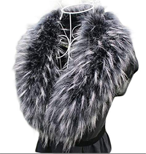 Faux Fur Collar Scarf Hood Collar Shawl Stole Neck Warmer For Winter Coat Jacket Parka (90cm/35.4