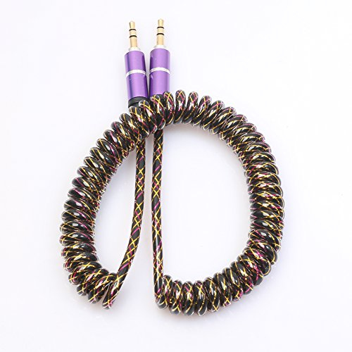 WinnerEco Extension Retractable 3.5mm Jack Male to Male Stereo Audio AUX Cable for All 3.5mm-Enabled Devices - 6.5 feet (2 Meters) Stretched Length (Purple) ()