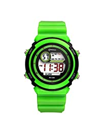 Sport LED Luminous Alarm Digital Watch Waterproof PVC Strap Quartz Children Wrist Watch,Green