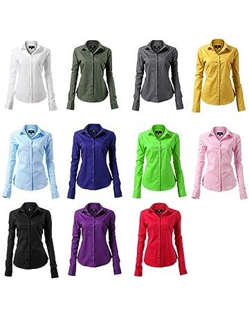 126f944332919d HARRMS Damen Bluse Basic Hemd Workwear Slim Fit Langarm Baumwolle Einfarbig  Plain Für Anzug Business Arbeit
