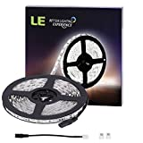 LE 16.4ft Light Strip, 300 Units SMD 5050 LEDs, 6000K Daylig White, 12V Non Waterproof LED Tape, Indoor Home Garden Kitchen Bar Party Christmas Holiday Festival Celebration Decoration and More
