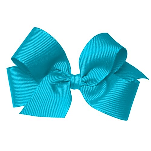 (Wee Ones Baby Girls' Medium Grosgrain Hair Bow on a Barrette w/Plain Wrap - Turquoise)