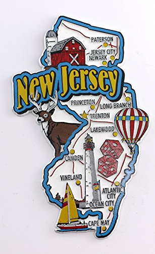 Amazon Com New Jersey State Map And Landmarks Collage Fridge