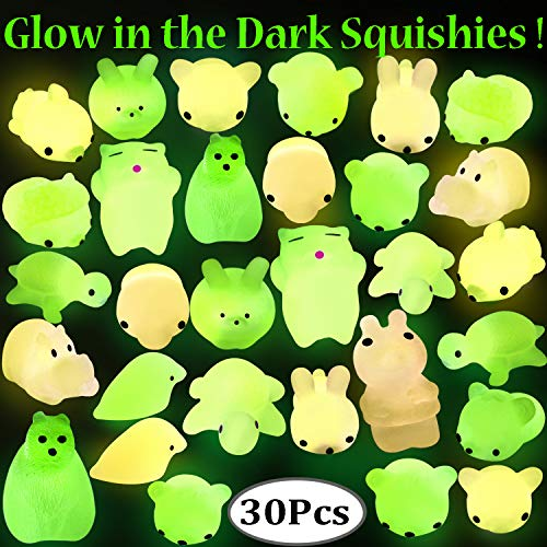 Outee Squishy Mochi Animals, 30 Pcs Xmas Gift Glow in The Dark Squishy Mochi Animal Stress Toys Squeeze Mochi Squishy Toys Soft Squishy Stress Relief Toys Squishy Squeeze -