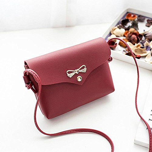 Messenger Bags Pure Flap Simple Handbags Women Shoulder Casual Bowknot Domybest Red Mini p6zfqw