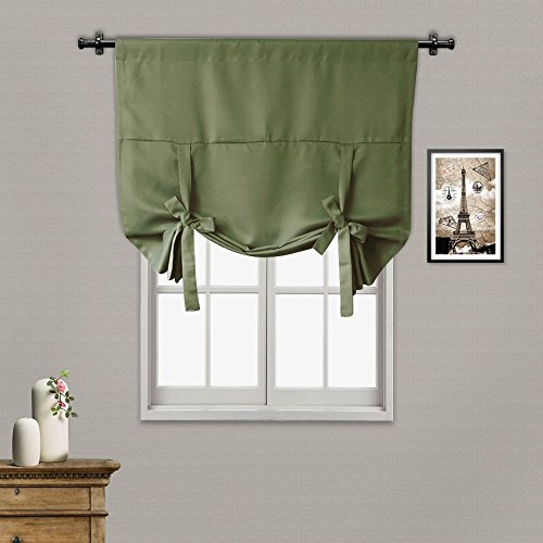 RHF Tie Up Shade for small window - Rod Pocket - Adjustable Thermal Insulated Blackout Tie up curtains 42W by 63L Inches-Olive