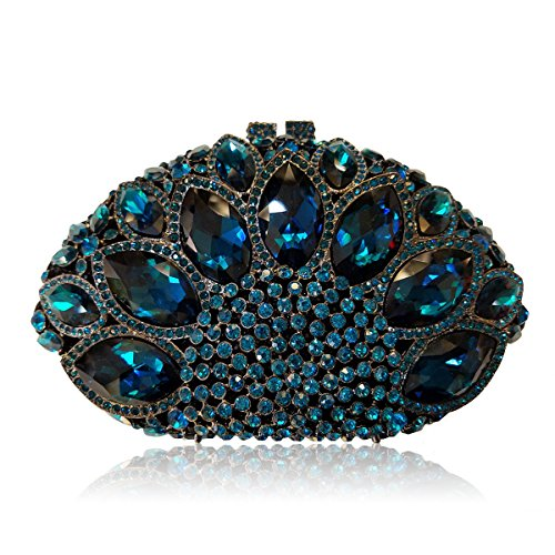 Flada Women Gemstone Handbag Rhinestones Sector Shape Wedding Evening Clutch Purse Blue by Flada