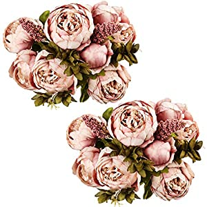 Ogrmar Vintage Artificial Peony Silk Flowers Bouquet for Decoration (Cameo Brown x2) 116