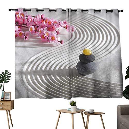 (Diycon Bedroom Balcony Living Room Curtain Spa Meditation Theme Stones Flower Breathability W55 xL39 Suitable for Bedroom Living Room Study,etc)