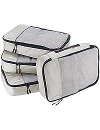 AmazonBasics 4 Piece Packing Travel Organizer Cubes Set - Medium, Grey