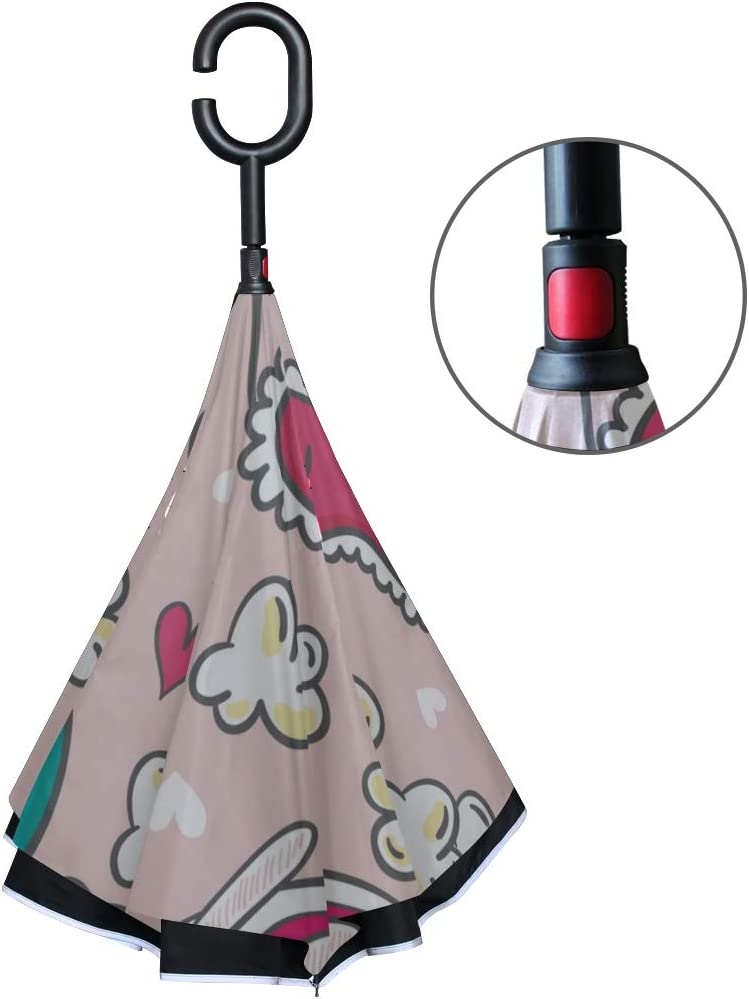 Double Layer Inverted Inverted Umbrella Is Light And Sturdy Pattern Rabbits Slippers Popcorn Pajama Reverse Umbrella And Windproof Umbrella Edge Nigh