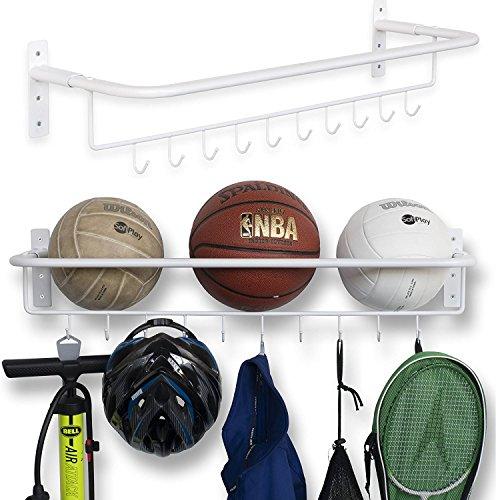 brightmaison Wall Mount Sports Ball Rack Storage Bar Rail with Hooks Set of 2 Black Garage Organizer (White)