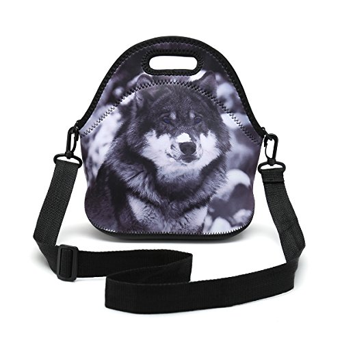 Insulated Neoprene Lunch Bag Removable Shoulder Strap Reusable Thermal Thick Lunch Tote Bags For Women,Teens,Girls,Kids,Baby,Adults-Lunch Boxes For Outdoors,Work,Office,School (Snow Wolf)