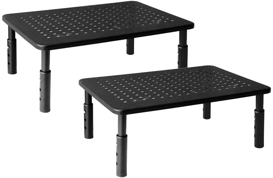 Hippo & Frog Metal Desk Dual Monitor Stand Riser, 3 Height Adjustable, 2 Packs