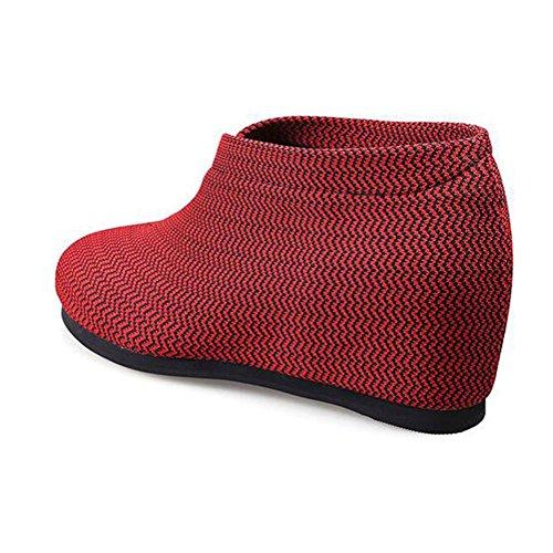 Hauts Talons Mesh Femmes rayée Taille Ronde compensées Automne RED Chaussures BOTXV 34 Surface Chaussures Mesh Mesdames zwRxqnt