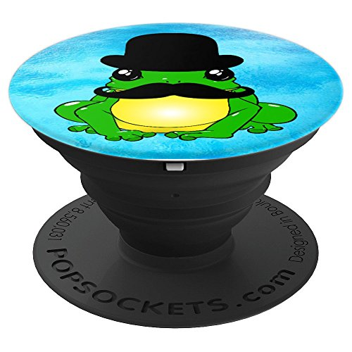 Funny Frog Cartoon Kawaii, Hat & Mustache Cute Silly Toad - PopSockets Grip and Stand for Phones and (Gentleman Frog)